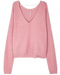 Free People - Take Me Places Pink Bouclé-knit Jumper - Lyst