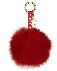 Popski London - Heart Fox Fur Pom Pom Keyring - Lyst