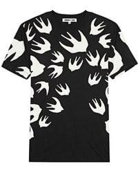 McQ - Black Swallow-print Cotton T-shirt - Lyst