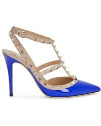 Valentino - Rockstud 100 Blue Leather Court Shoes - Lyst
