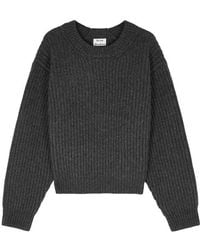Acne Studios - Charcoal Ribbed Wool Jumper - Lyst
