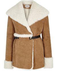 Loewe - Camel Shearling-lined Suede Jacket - Lyst