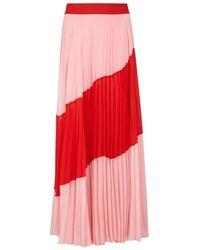 Alice + Olivia - Tavi Colour-block Pleated Chiffon Skirt - Lyst