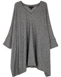 Donna Karan - Navy Mélange Cotton-blend Top - Lyst