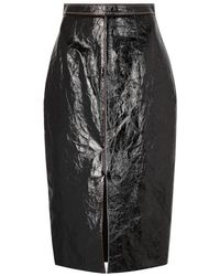 Roland Mouret - Birch Black Leather Pencil Skirt - Lyst