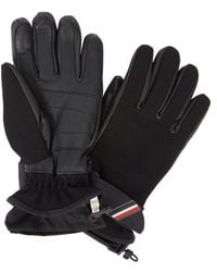 Moncler - Technical Black Twill And Leather Gloves - Lyst