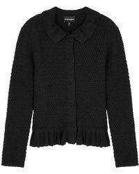 Emporio Armani - Black Textured Wool-blend Cardigan - Lyst