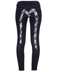 Evisu - Skinny-fit Denim Jeans With Godhead-patterned Daicock Print - Lyst