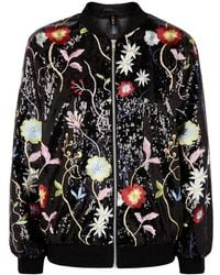 RAGYARD   Floral-embroidered Sequinned Bomber Jacket   Lyst