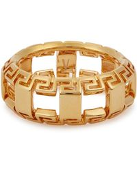 Versace - Gold Greek Key Ring - Lyst