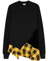 CLU - Black Ruffle-trimmed Cotton Sweatshirt - Lyst