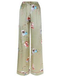 Meng - Gold Floral Silk Satin Trousers - Lyst