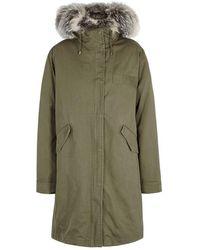 Yves Salomon - Olive Fur-trimmed Cotton Parka - Lyst