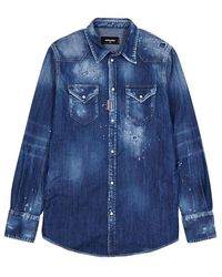 DSquared² - Distressed Stretch-denim Shirt - Lyst