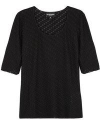 Emporio Armani - Black Textured Fine-knit Top - Lyst