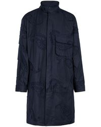 Wooyoungmi - Navy Embroidered Cotton Blend Coat - Lyst