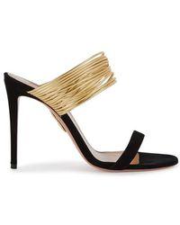 Aquazzura - Rendezvous Black Leather Sandals - Lyst