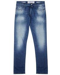 Jacob Cohen - Dark Blue Distressed Slim-leg Jeans - Lyst