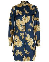 Versace - Baroque-print Silk Shirt Dress - Lyst