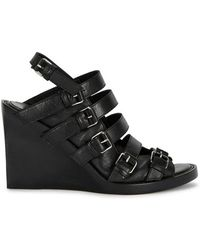 Ann Demeulemeester - Black Leather Wedge Sandals - Lyst
