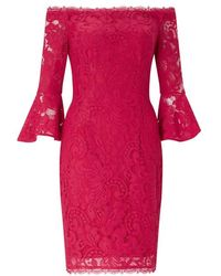 Adrianna Papell - Off The Shoulder 3⁄4 Sleeve Lace Cocktail Dress - Lyst