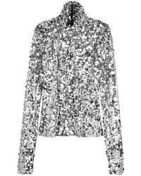 MM6 by Maison Martin Margiela - Silver Sequinned Top - Lyst