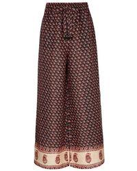 Zimmermann - Jaya Printed Wide-leg Linen Trousers - Lyst
