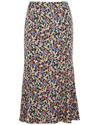 Veronica Beard - Finna Floral-print Stretch-silk Midi Skirt - Lyst