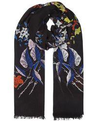 Diane von Furstenberg - Camden Black Floral-print Scarf - Lyst