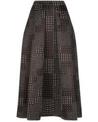 Varana - Black And White Silk Jacquard Skirt - Lyst