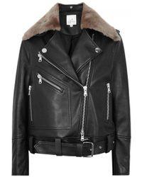 La Bête - Black Shearling-trimmed Leather Jacket - Lyst