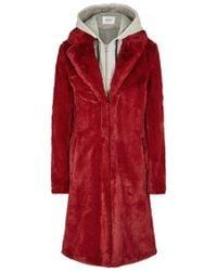 Gestuz - Red Layered Faux Fur Coat - Lyst