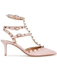 Valentino - Rockstud 65 Pink Suede Pumps - Lyst