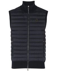 Moncler - Navy Shell And Stretch-knit Gilet - Lyst