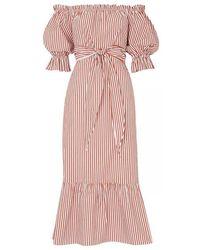 Kitri - Cora Striped Bardot Dress - Lyst