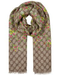Gucci - Gg Floral-print Modal-blend Scarf - Lyst