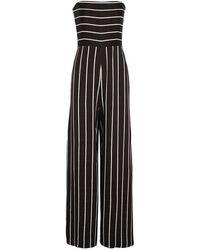 Safiyaa - Striped Strapless Satin Jumpsuit - Lyst