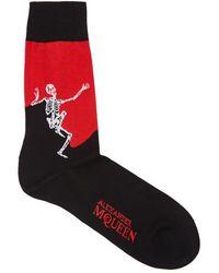 Alexander McQueen - Dancing Skeleton Cotton-blend Socks - Lyst