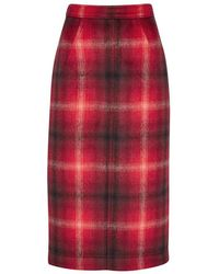 N°21 - Red Plaid Flannel Pencil Skirt - Lyst