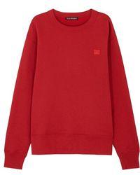 Acne Studios - Fairview Face Red Cotton Sweatshirt - Lyst
