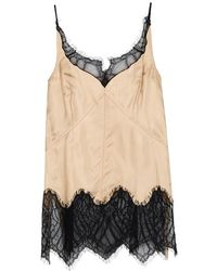 Helmut Lang - Champagne Lace-trimmed Satin Twill Top - Lyst