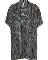 Eileen Fisher - Striped-knit Organic Linen Cardigan - Lyst