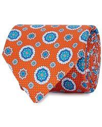 Eton of Sweden - Orange Printed Cotton Tie - Lyst