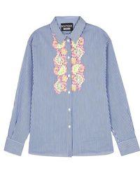 Boutique Moschino - Striped Lace-appliquéd Poplin Shirt - Lyst
