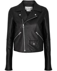 Loewe - Black Leather Biker Jacket - Lyst