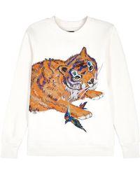 Katya Dobryakova - Tiger Appliquéd Cotton Blend Sweatshirt - Lyst