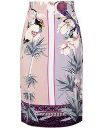 Versace - Lilac Chinoiserie-print Silk Skirt - Lyst