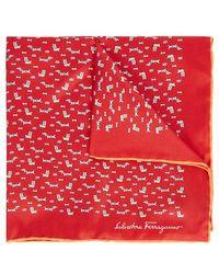 Ferragamo - Dog-print Silk Twill Pocket Square - Lyst