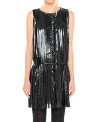 Max Studio - Coated And Pleated Georgette Belted Sleeveless Dress - Lyst