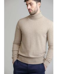 Johnstons - Fossil Contemporary Classic Roll Neck Mens Cashmere Jumper - Lyst